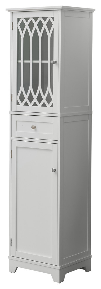 Newberry Tall Bathroom Storage Cabinet Linen Tower White 2kfurniture