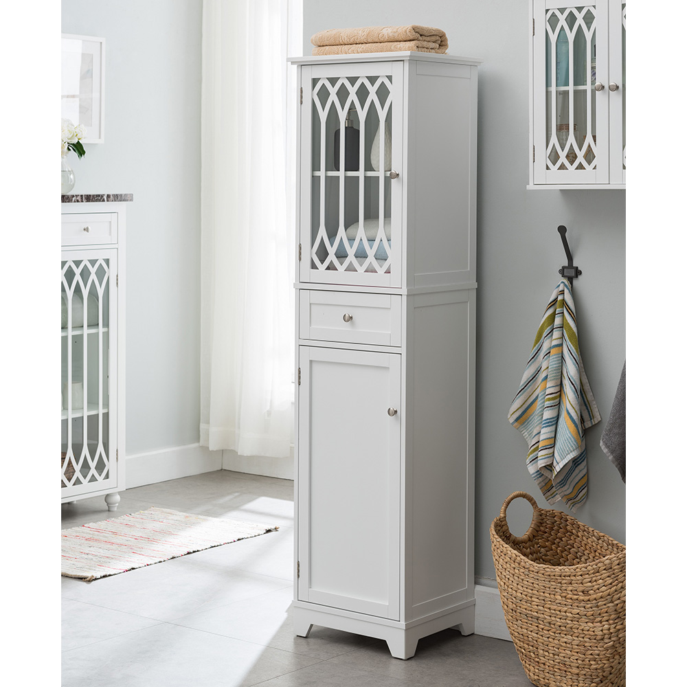 Newberry Tall Bathroom Storage Cabinet Linen Tower White 2kfurniture