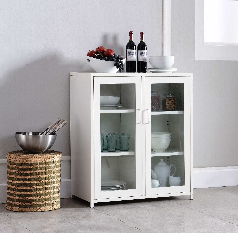 Haslett Metal Kitchen Cabinet With Glass Doors 2kfurniture