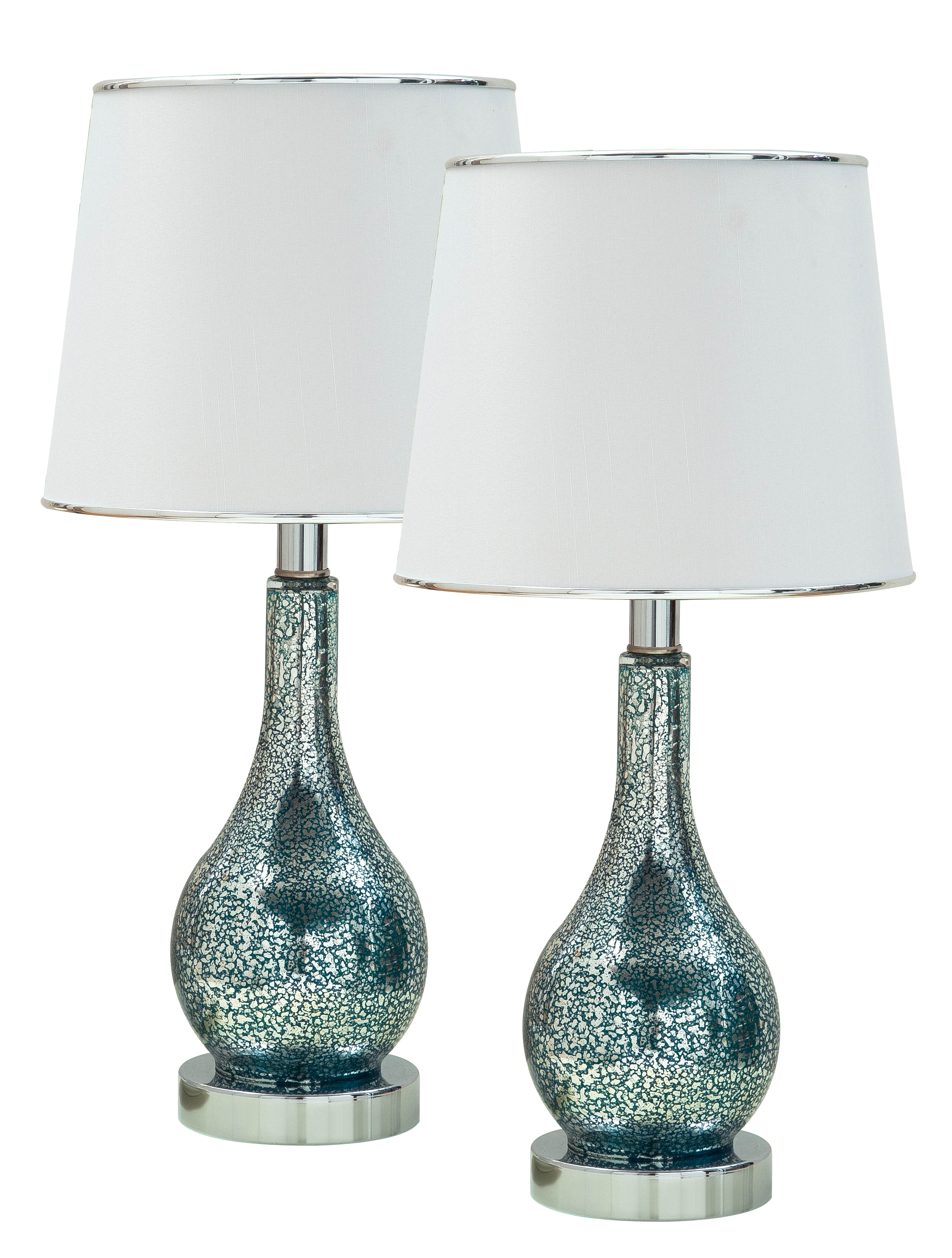 Ardoch Aqua Blue Glass Table Lamp – Set of 2 – 2kfurniture