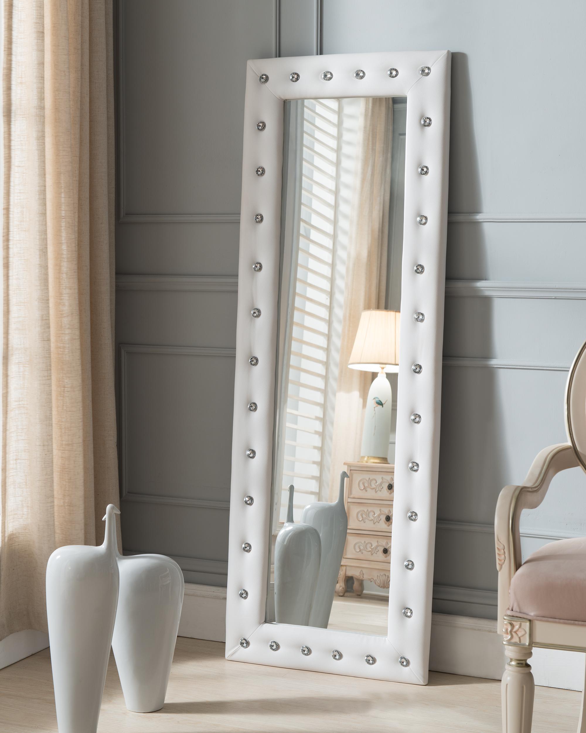Pembroke Upholstered Standing Floor Mirror White 2kfurniture